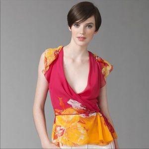 Diane Von Furstenberg wrap orchid top size 12
